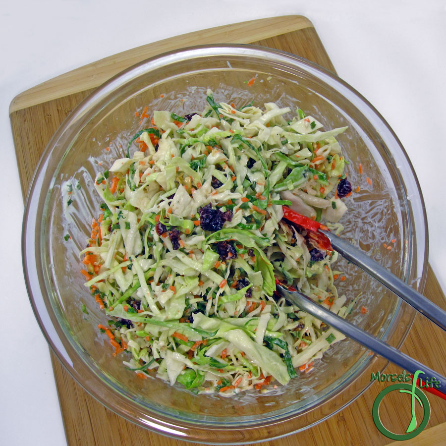Morsels of Life - Cranberry Walnut Cole Slaw - Sweetly tangy cranberries combined with shredded cabbage and carrots and joined by chopped walnuts for a flavorful Cranberry Walnut Cole Slaw.