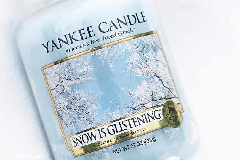 etykieta świecy yankee candle snow is glistening