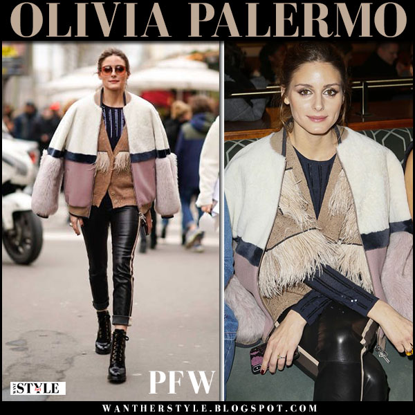 Olivia Palermo in pink colorblock drome jacket, black leather pants and prada boots fashion week outfits march 3