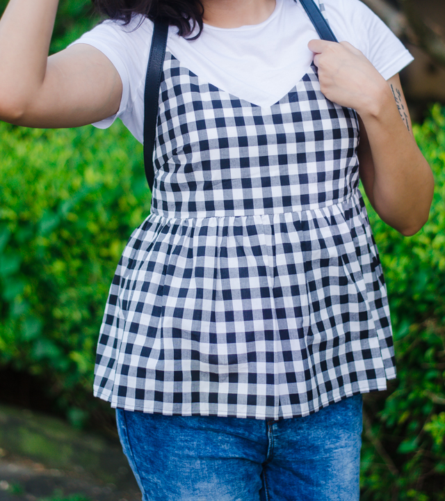 Gingham peplum cami top with tshirt