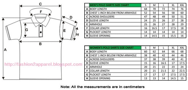 Step by step polo shirt measurement process with size chart