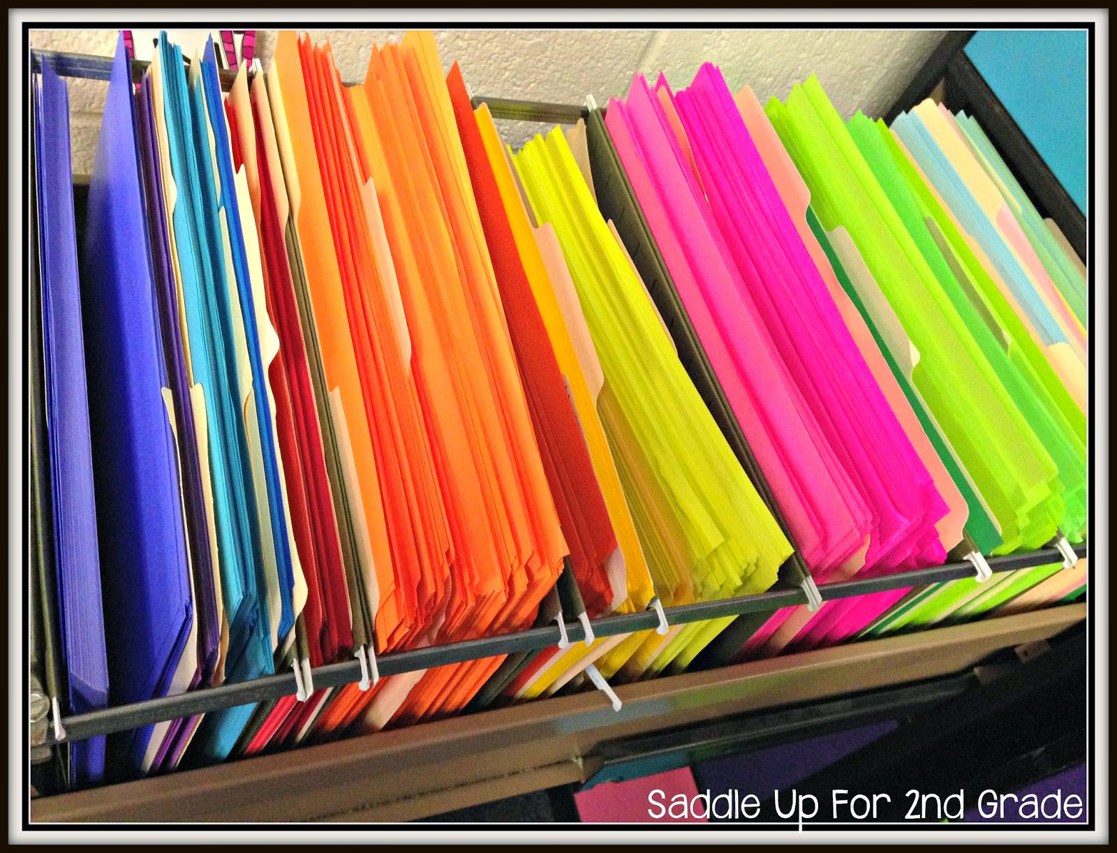 Organizing colored paper by Saddle Up For 2nd Grade