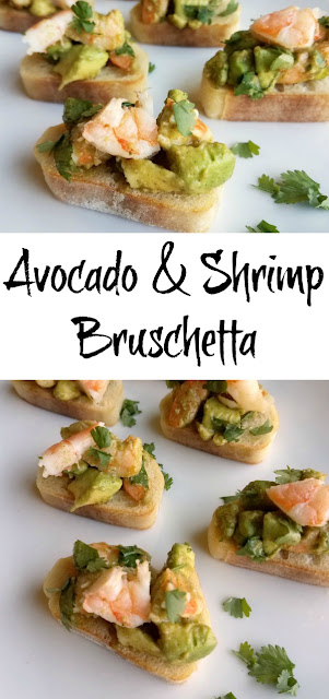 Delicious shrimp, creamy avocado, lime, cilantro and a hint of chili powder make this bruschetta one of a kind. It reminds me of our visit to the Houston shore.