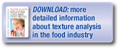 Download more detailed information about texture analysis in the food industry