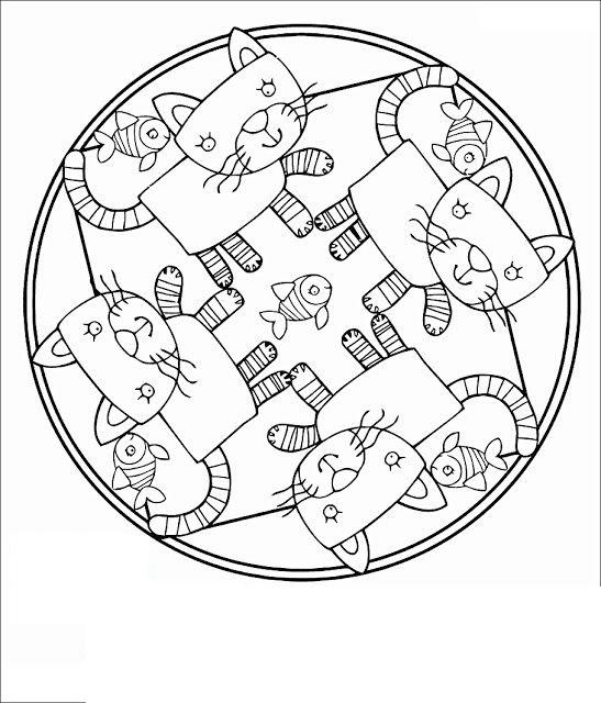 Tranh tô màu hình tròn trang trí họa tiết con mèo ngộ nghĩnh