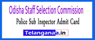 OSSC Police Sub Inspector Admit Card 2017