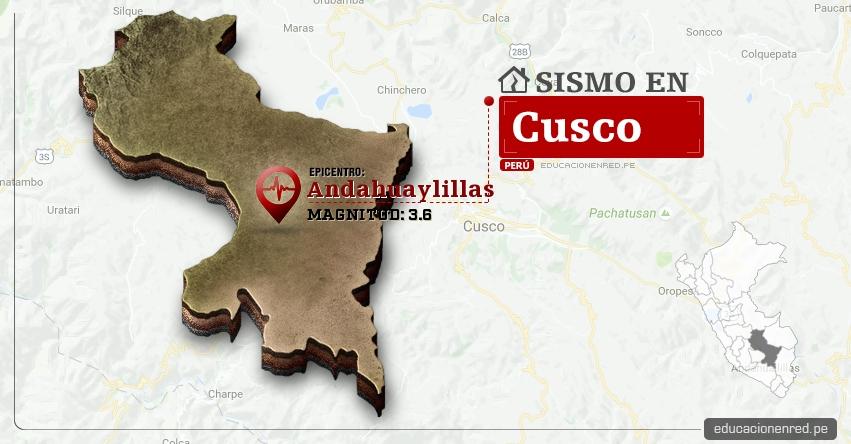 Temblor en Cusco de 3.6 Grados (Hoy Sábado 4 Marzo 2017) Sismo EPICENTRO Andahuaylillas - Quispicanchi - IGP - www.igp.gob.pe