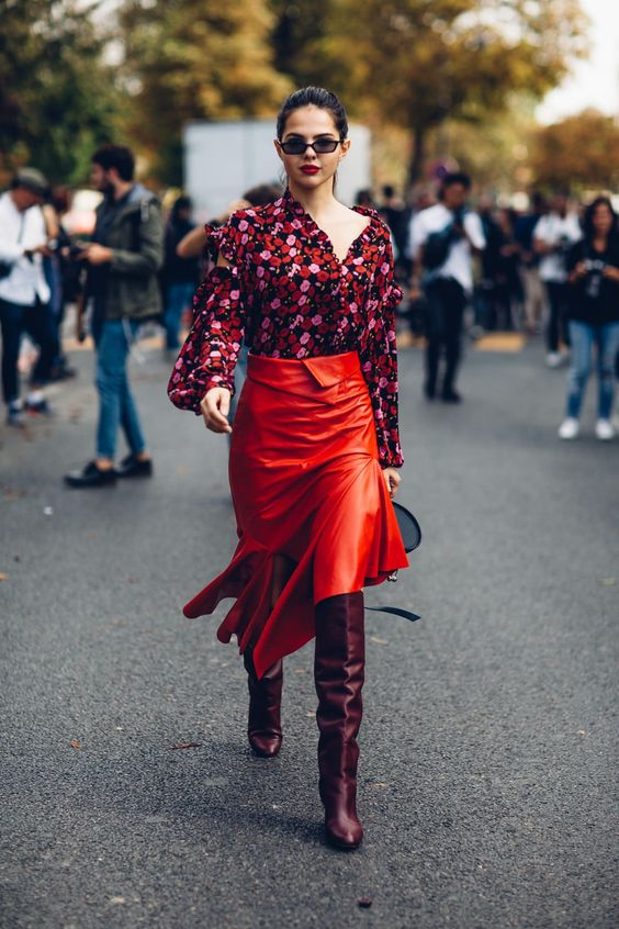 Red leather midi skirt