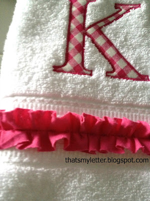 monogrammed hand towels with ruffle detail