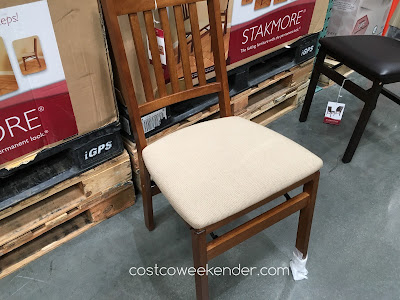 Get more seating in your home for parties and gatherings with the Stakmore Wood Folding Chair with Upholstered Seat