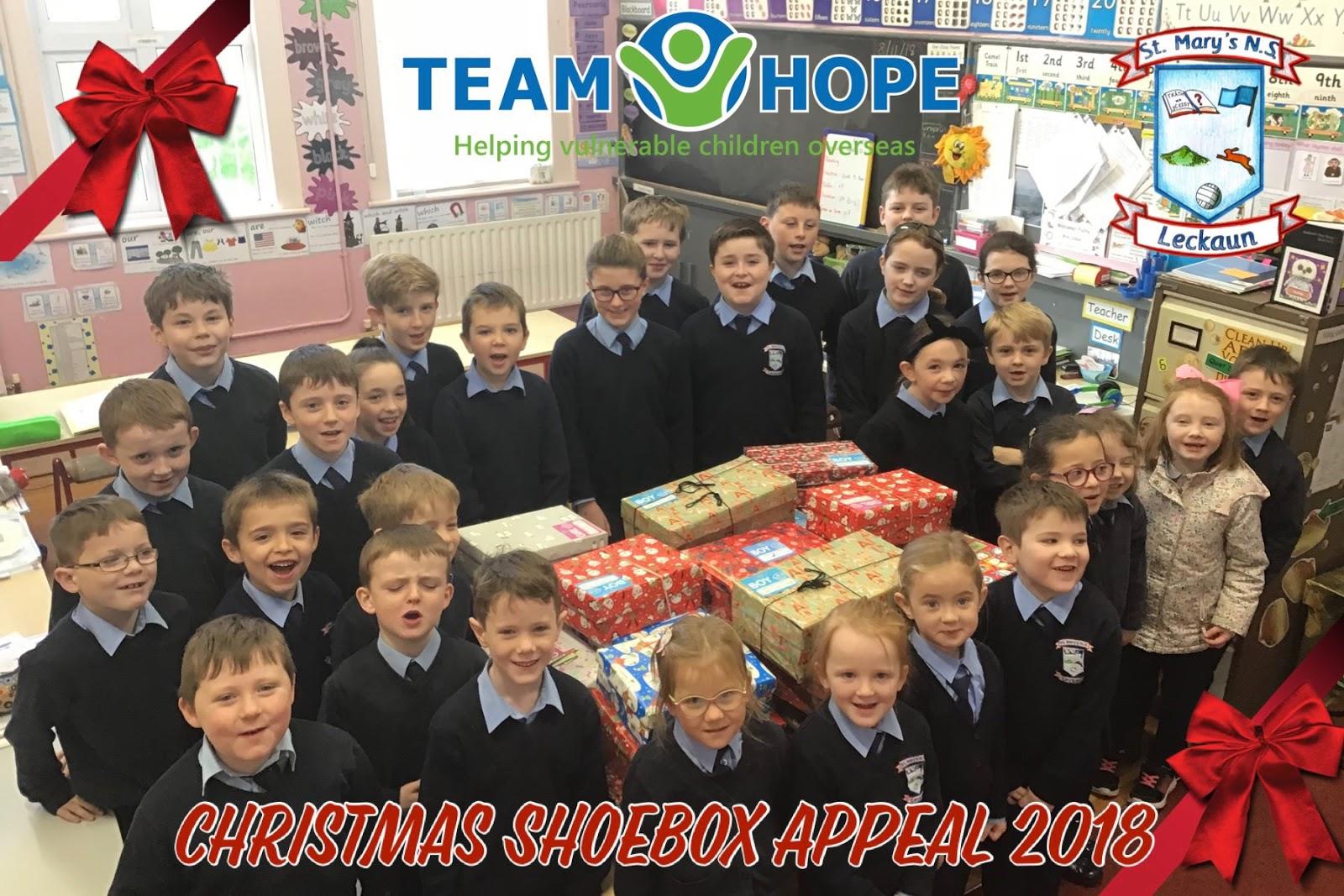 Christmas Shoe Box Appeal 2019.Leckaun National School Team Hope Christmas Shoebox Appeal