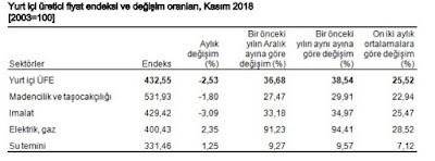 Kasım ayı enflasyon oranı 2018