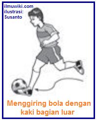 Gambar teknik dasar menggiring bola dengan kaki bagian luar