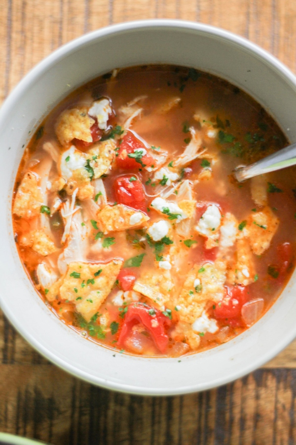 This lime, chicken, and tortilla soup is the perfect meal on a cool Fall evening!