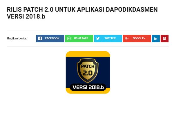 PATCH 2.0 UNTUK APLIKASI DAPODIKDASMEN VERSI 2018.b