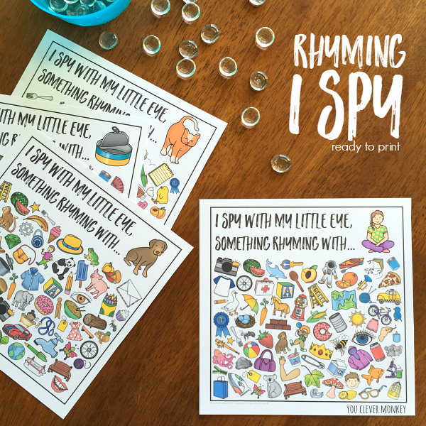 Rhyming Word Family I Spy Printables | you clever monkey