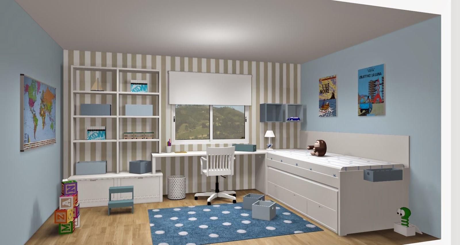 Dise o de cuartos o dormitorios juveniles for Habitaciones con muebles blancos