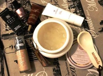 Revlon Colorstay Foundation, TheraNaka Eye Gel, Optiphi Facial Cleanser, Avon Nail Enamel Majestic Mauve and Matsimela Home Spa Baobab Seed Kalahari Sugar Scrub
