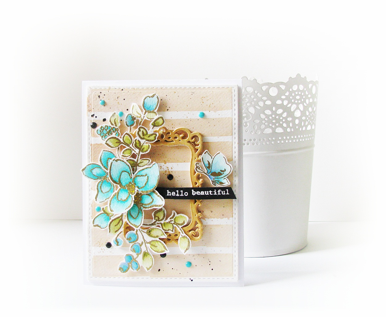 To Create This Card, I First Stamped The Flowers And Leaves From The  Altenew Golden Garden Set On Canson Watercolor Paper Using Versamark  Embossing Ink.