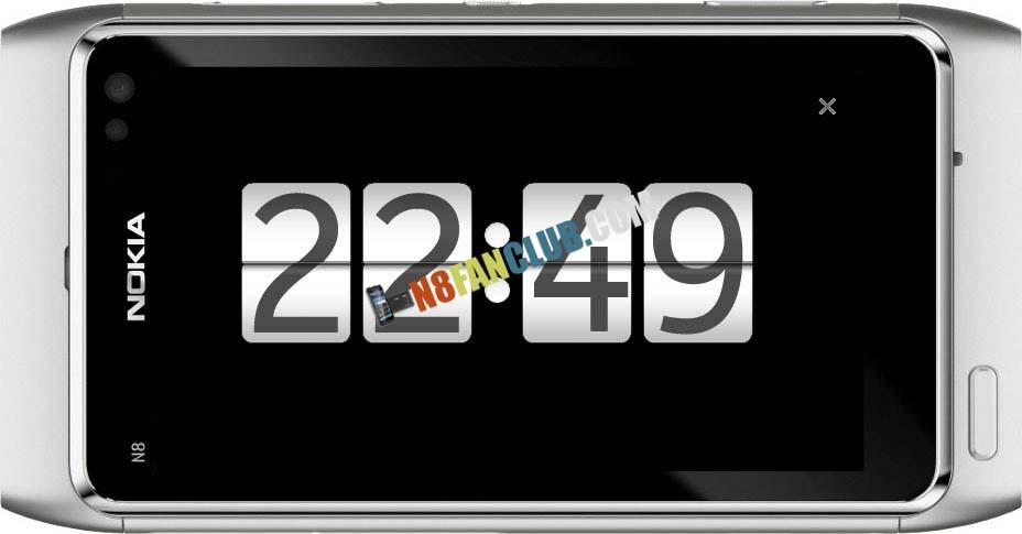Flip Clock Black v1 1 1 - Symbian^3 - Nokia N8 - Full