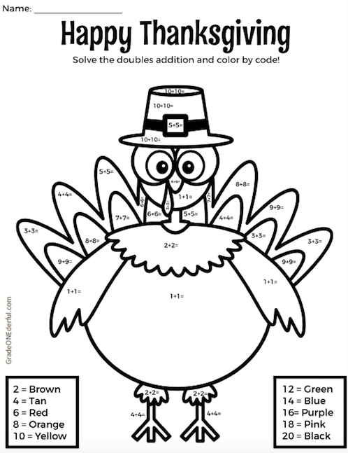 Hard Color by Number Pages | Thanksgiving coloring page with ... | 647x498