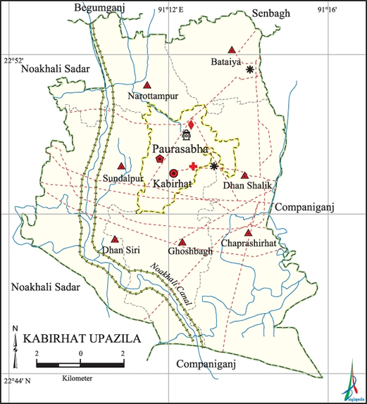 Kabirhat Upazila Map Noakhali District Bangladesh