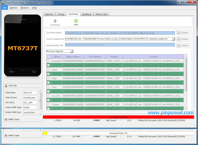 Proses flashing Sharp A2 Lite sedang berjalan