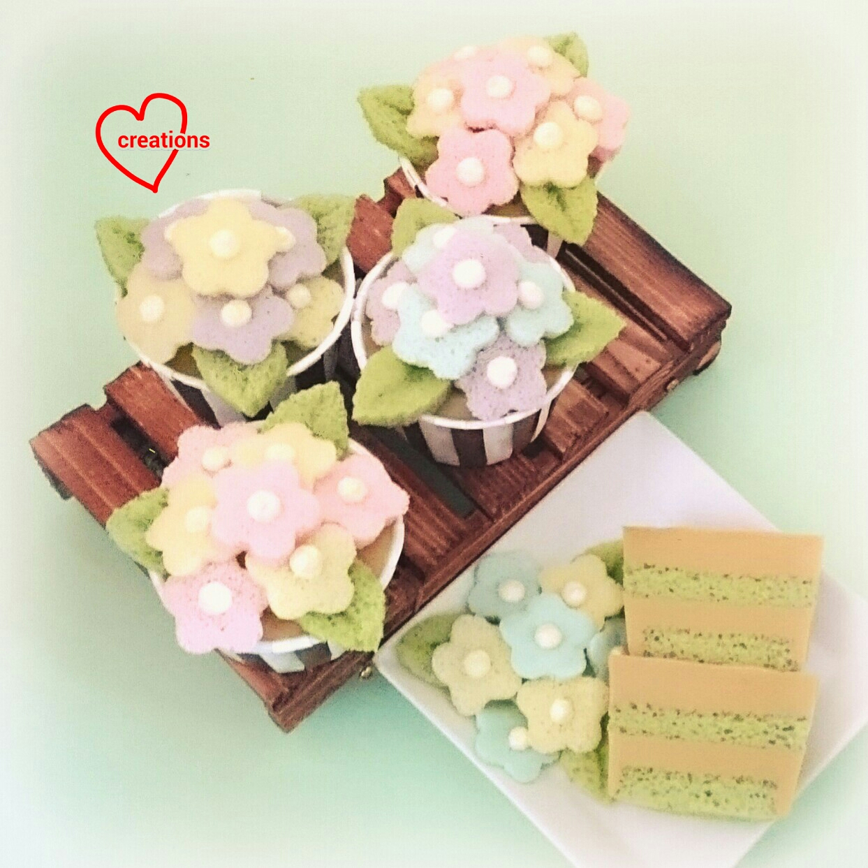 Loving Creations for You: Pandan Kaya Gula Melaka Flower Pot Cupcakes
