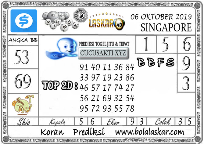 Prediksi Togel SINGAPORE LASKAR4D 06 OKTOBER 2019