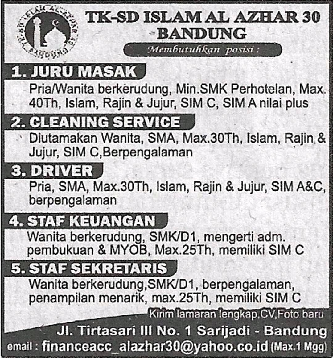 Lowongan Kerja Al Azhar Bandung Terupdate 2020 Loker Karir