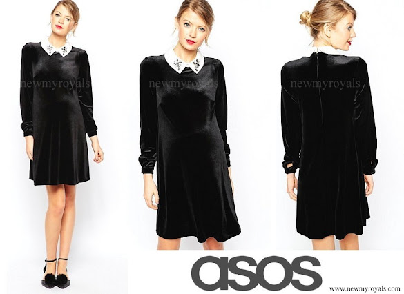 Crown Princess Victoria wore ASOS Maternity Shift Dress in Velvet with Embellished Collar