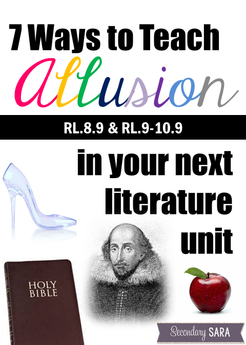The Common Core State Standards for literature that address the topic of allusion are a bit worrying for some teachers, and it's understandable as to why. This blog post provides seven ways to teach allusion that should help you successfully teach this literary device without too many complications!