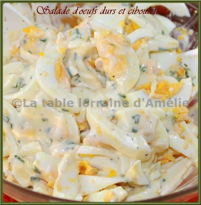 La table lorraine d 39 amelie salade aux ufs durs cr me et ciboulettes recette lorraine du - Recette avec oeuf dur ...