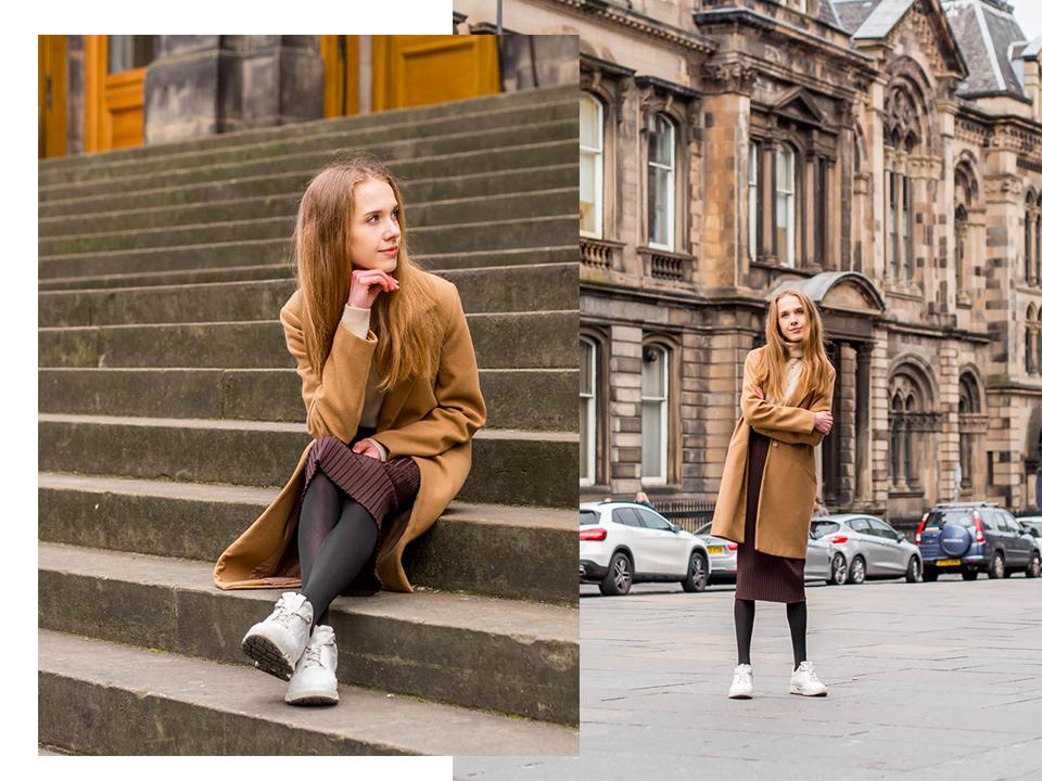 Autumn streetstyle: ribbed midi skirt and cashmere roll neck jumper - Syysmuoti: ribbineulos midihame ja kasmirpooloneule