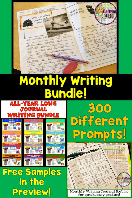 300 Different Writing Prompts! Student Journal Writing for all year!