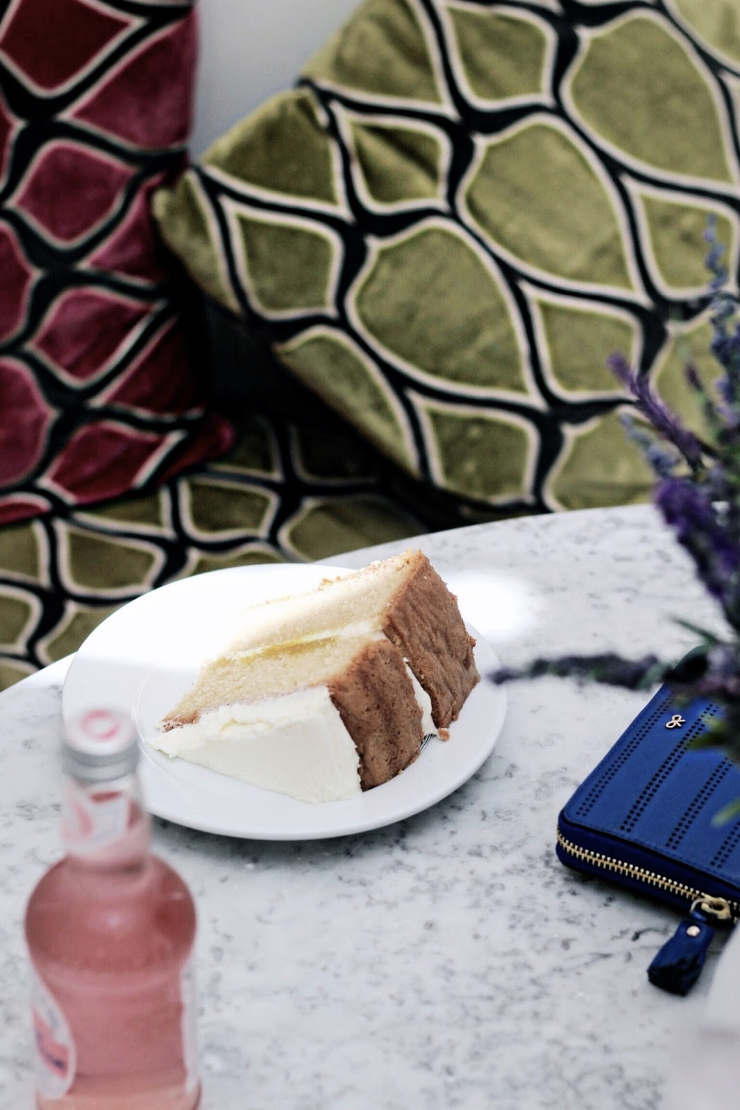 Large slice of lemon cake at cafe