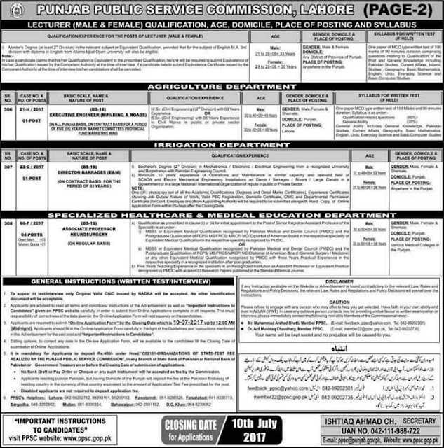 PPSC Lecturers Jobs 2017