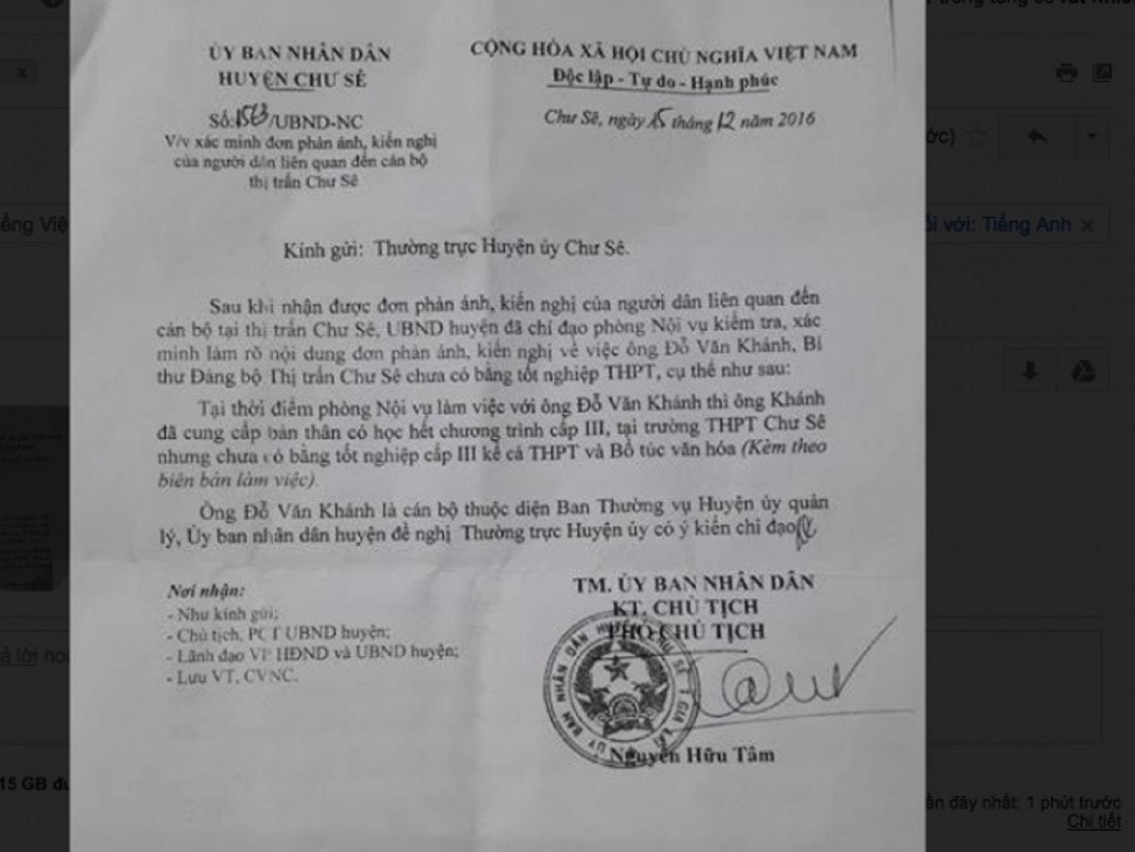 Gia Lai: Đang làm rõ Bí thư thị trấn Chư Sê chưa có bằng cấp 3