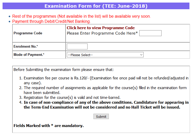Exam Fee Submission Started at IGNOU How to Submit and Last Date