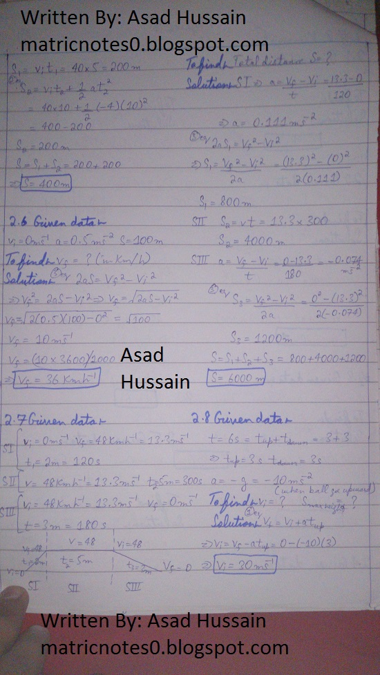 Matric 9th Physics Notes Chapter 2 Numerical Asad Hussain 1