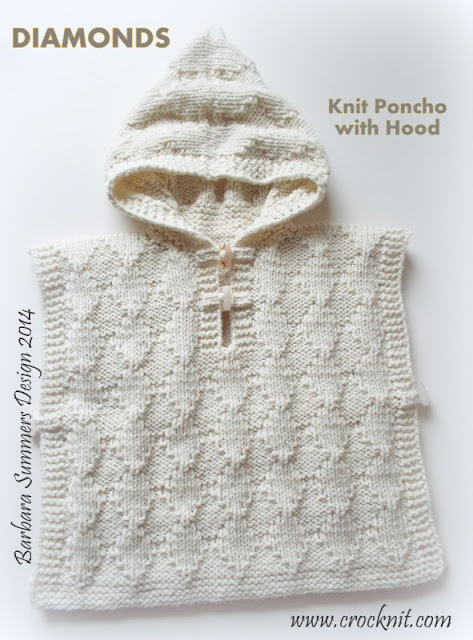 knit patterns, poncho with hood, diamonds, child, toddler,