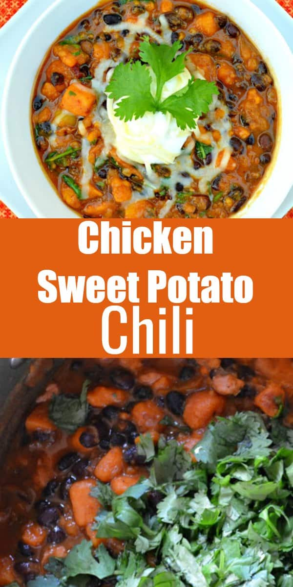 Chicken Sweet Potato Chili recipe can be made on the stove or in the Crock Pot from Serena Bakes Simply From Scratch. Great recipe for tailgating or dinner.