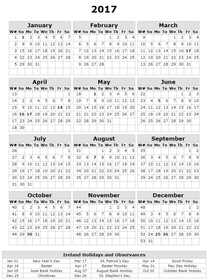 Calendar October 2017 Ireland