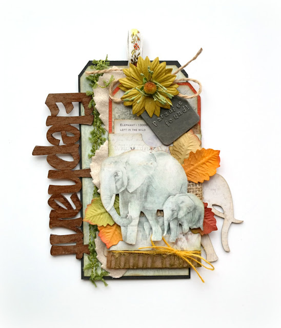 Elephant Tag by Dana Tatar for FabScraps - Call From The Wild Collection