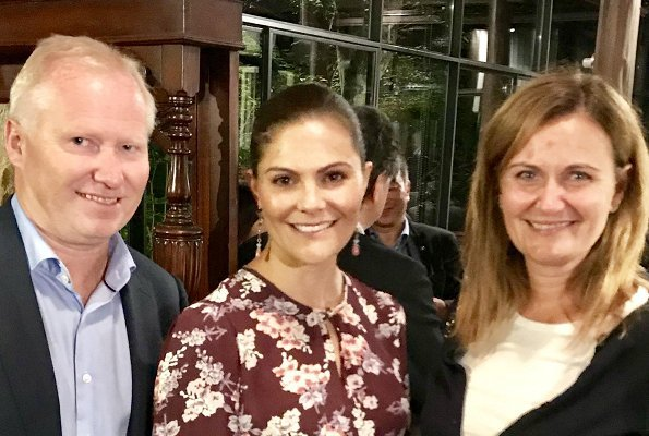 Crown Princess Victoria wore Lexington Company Frida Blazer and Trousers and Erdem floral dress, Caroline Svedbom Rosa Flower Earrings