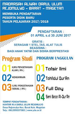 Pendaftaran Siswa Baru Madrasah Aliyah Darul Ulum Tahun 2017