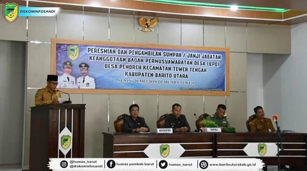 Anggota BPD Desa Pendreh Kecamatan Teweh Tengah Resmi Dilantik