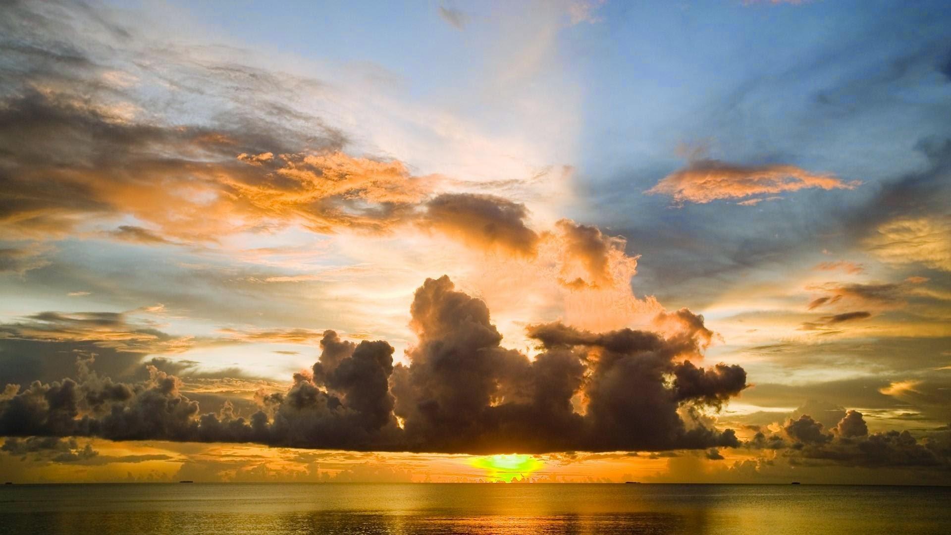 Papel De Parede Natureza Por Do Sol No Oceano