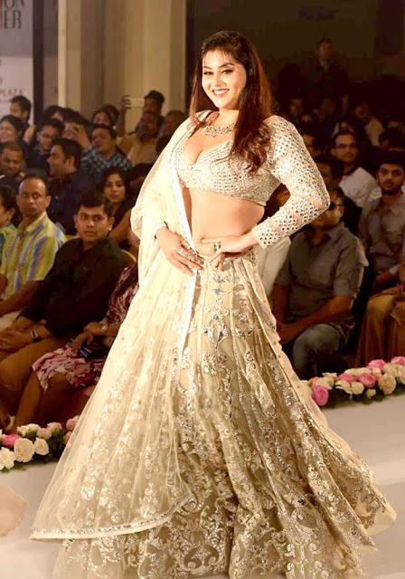 Namita Ramp Walked in White Applique Work Embroidery Lehenga