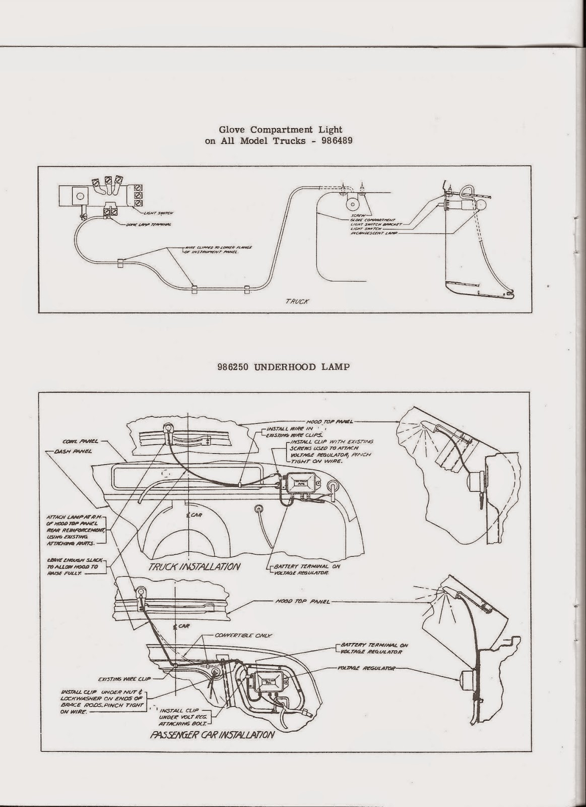 Additional Wiring Diagram For The 1953 Chevrolet Passenger Cars Convertible Gray Ghost Chevy 3100 Technical Information Page Glove Compartment Underhood Lamp
